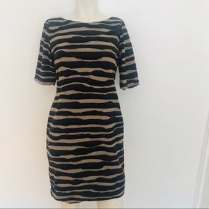 Connected Petite 6P Ruffled Striped Dress